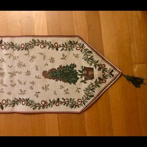 """72"""" holiday Christmas tree runner beige and green"""